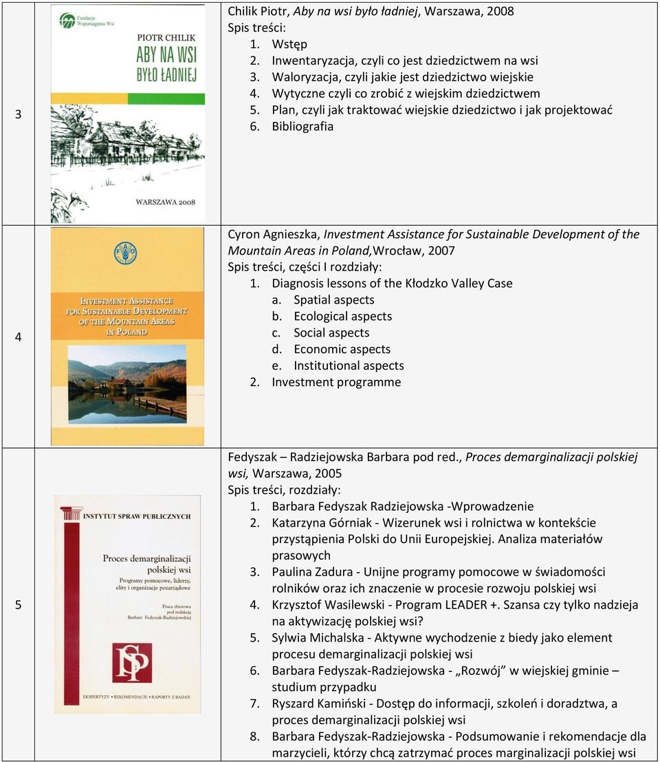 Bibliografia 4 Cyron Agnieszka, Investment Assistance for Sustainable Development of the Mountain Areas in Poland,Wrocław, 2007 Spis treści, części I rozdziały: 1.