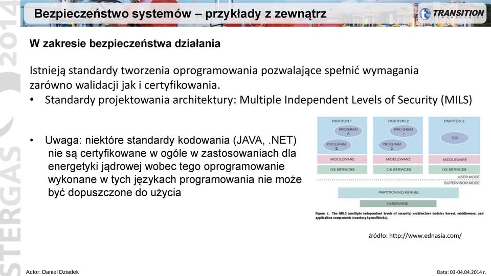 Standardy projektowania architektury: Multiple Independent Levels of Security (MILS) Uwaga: niektóre standardy kodowania (JAVA,.