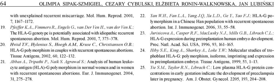 , Hoegh A.M., Kruse C., Christiansen O.B.: HLA-G polymorphism in couples with recurrent spontaneous abortions. Tissue Antigens, 2002, 60, 122 132. 21. Abbas A., Tripathi P., Naik S. Agrawal S.