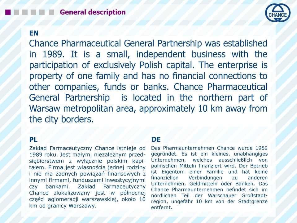 Chance Pharmaceutical General Partnership is located in the northern part of Warsaw metropolitan area, approximately 10 km away from the city borders.