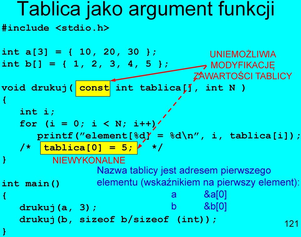 const int tablica[], int N ) int i; for (i = 0; i < N; i++) printf( element[%d] = %d\n, i, tablica[i]); /*