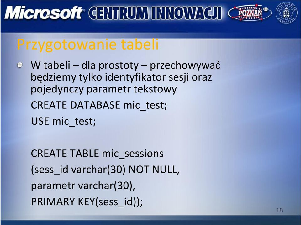 DATABASE mic_test; USE mic_test; CREATE TABLE mic_sessions (sess_id