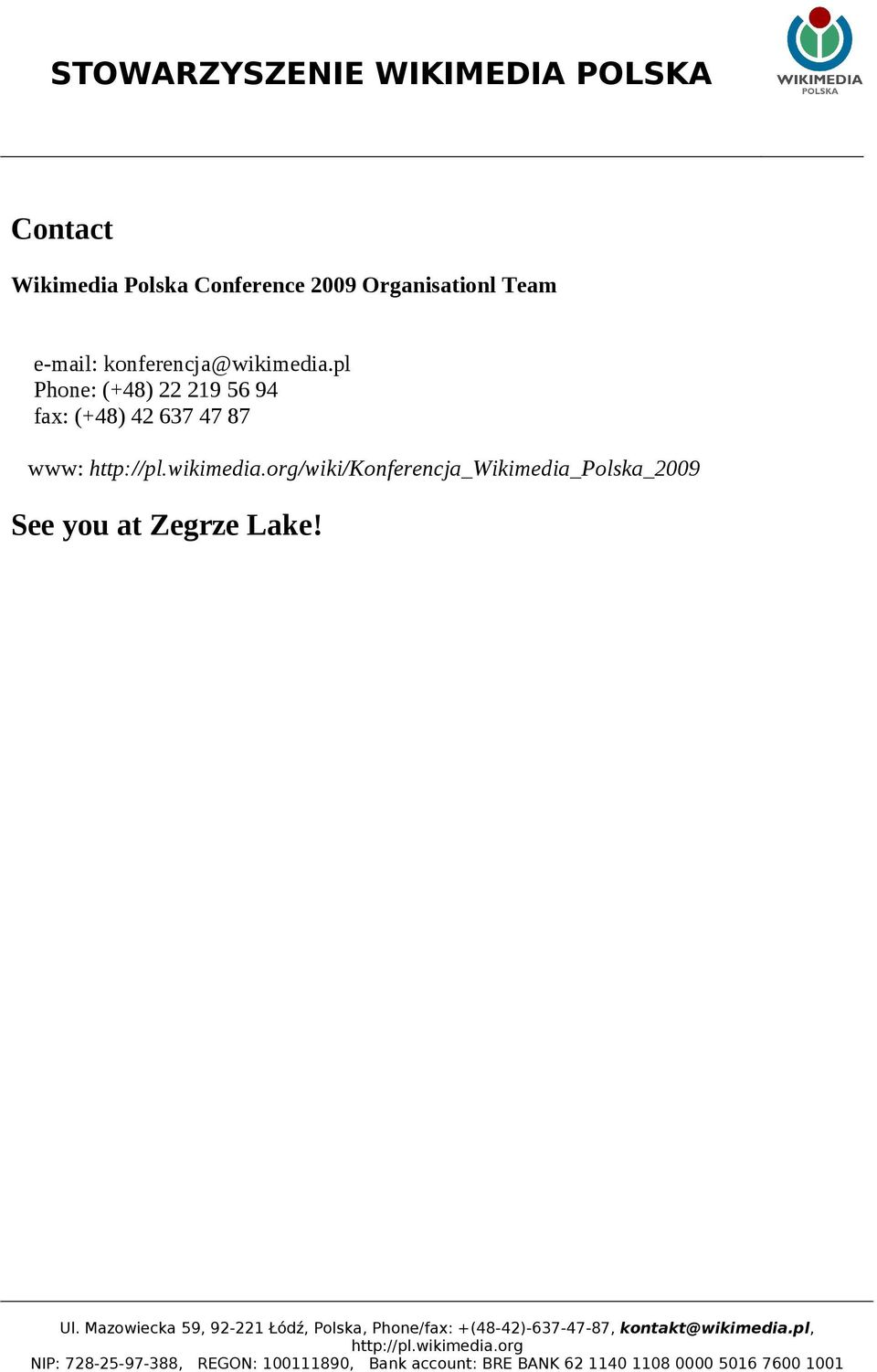 See you at Zegrze Lake! Ul.