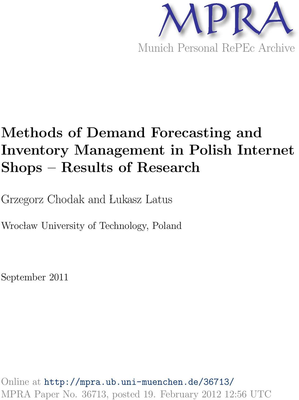 Latus Wroc law University of Technology, Poland September 2011 Online at