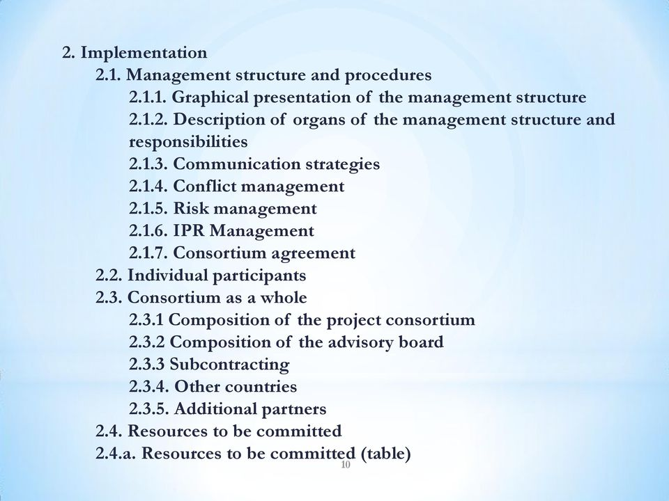 3. Consortium as a whole 2.3.1 Composition of the project consortium 2.3.2 Composition of the advisory board 2.3.3 Subcontracting 2.3.4.