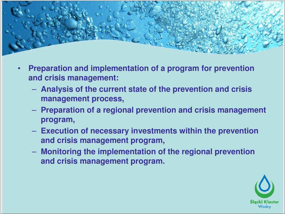 and crisis management program, Execution of necessary investments within the prevention and crisis