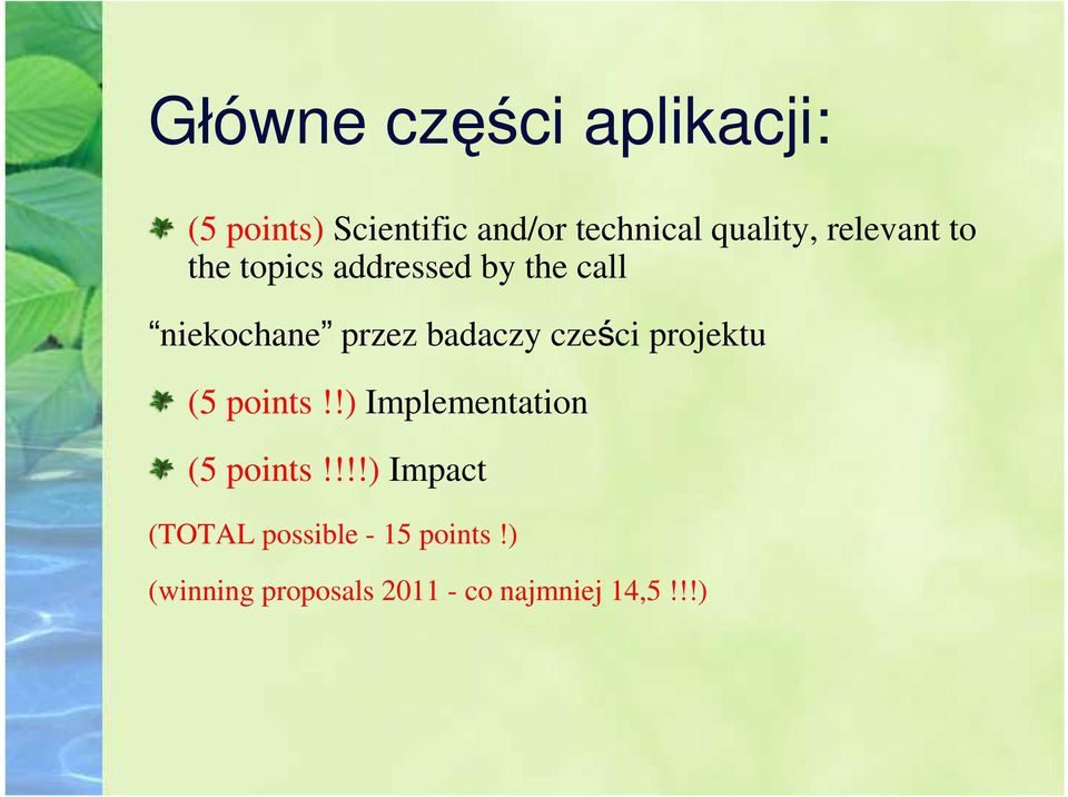 badaczy cześci projektu (5 points!!) Implementation (5 points!
