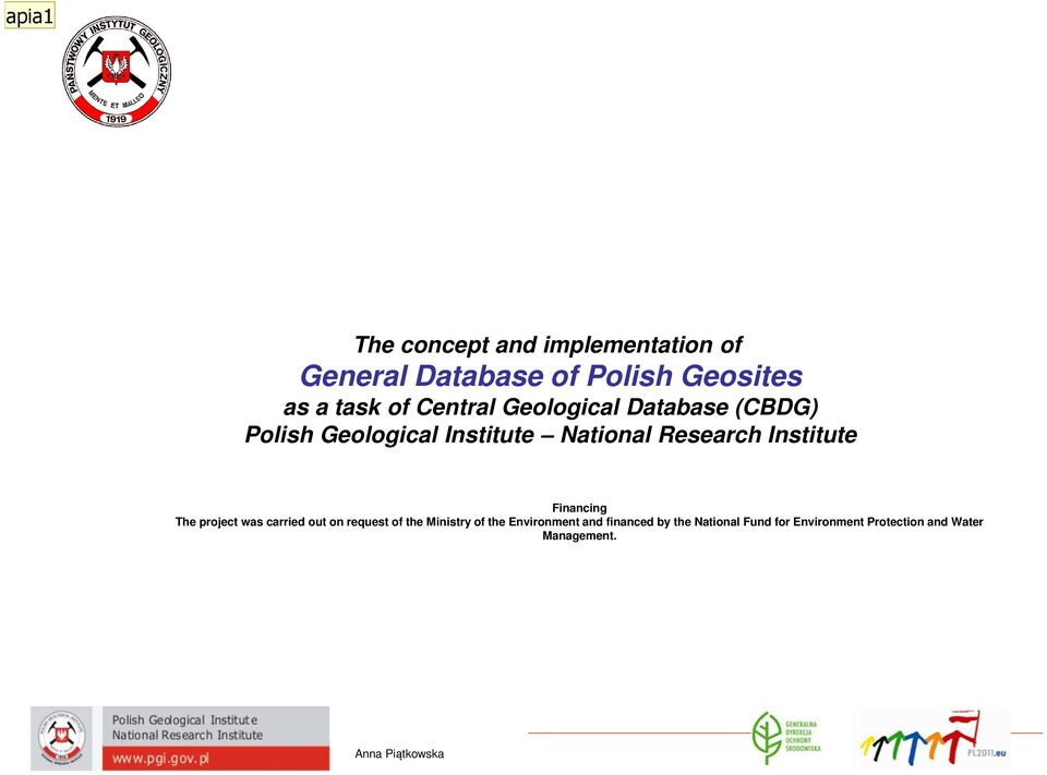 Database (CBDG) Polish Geological Institute National Research Institute Financing The project was carried out on request