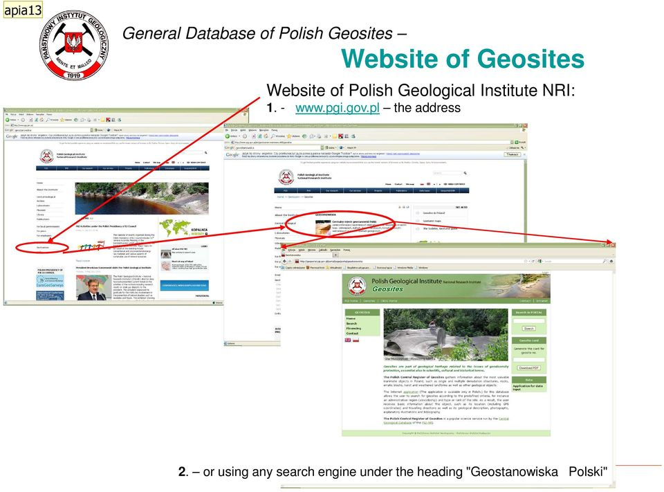 NRI: 1. - www.pgi.gov.pl the address 2.