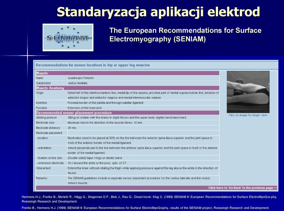(1999) SENIAM 8: European Recommendations for Surface ElectroMyoGra-phy, Roessingh Research and Development. Freriks B.