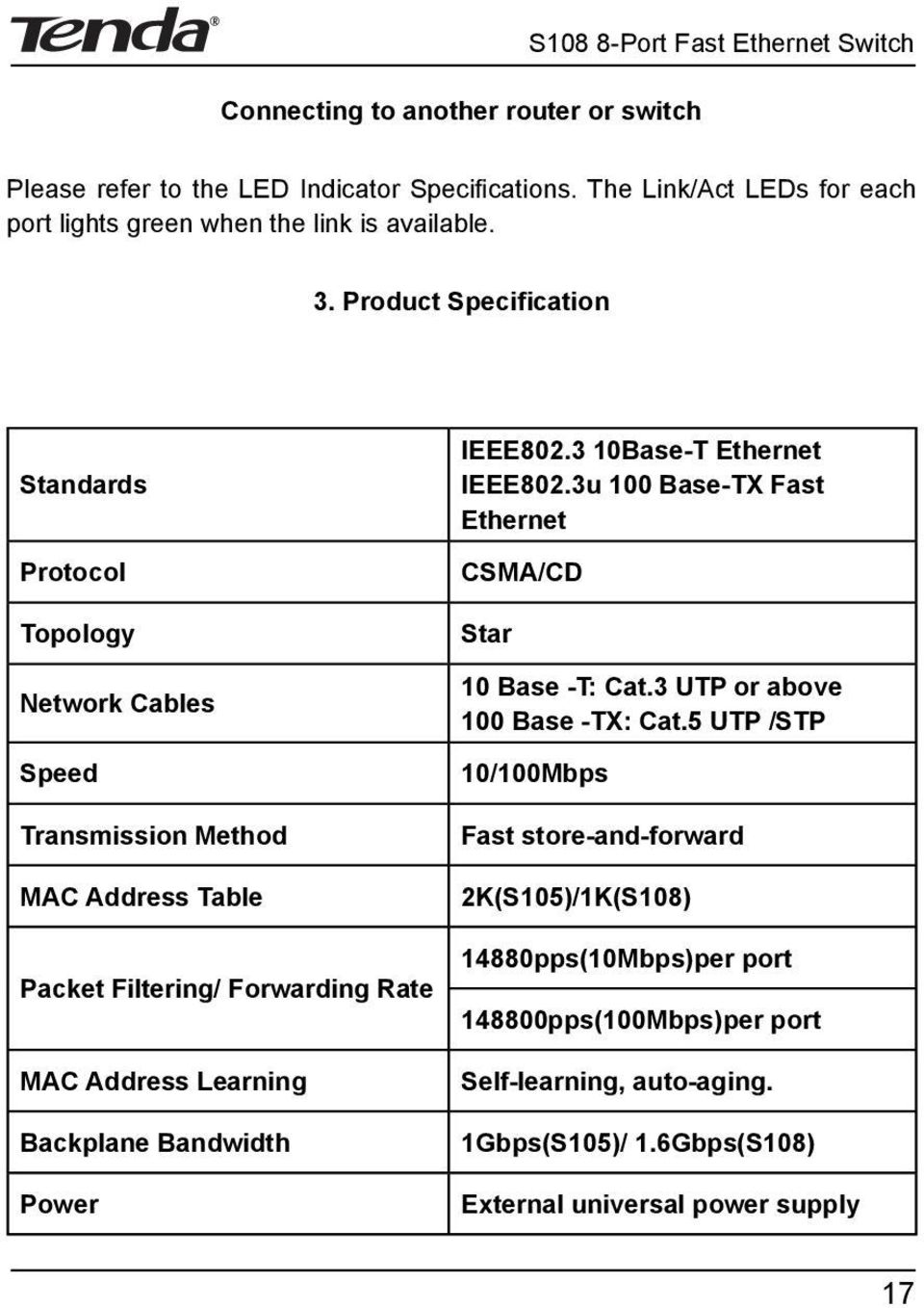 Product Speci cation Standards Protocol Topology Network Cables Speed Transmission Method MAC Address Table Packet Filtering/ Forwarding Rate MAC Address Learning Backplane