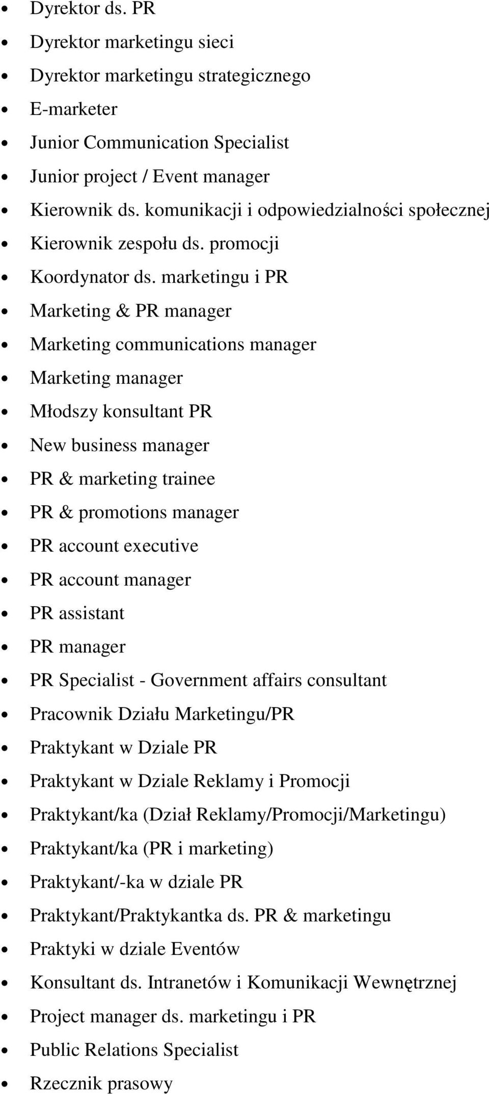 marketingu i PR Marketing & PR manager Marketing communications manager Marketing manager Młodszy konsultant PR New business manager PR & marketing trainee PR & promotions manager PR account