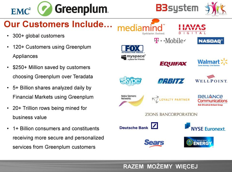 Financial Markets using Greenplum 20+ Trillion rows being mined for business value 1+ Billion