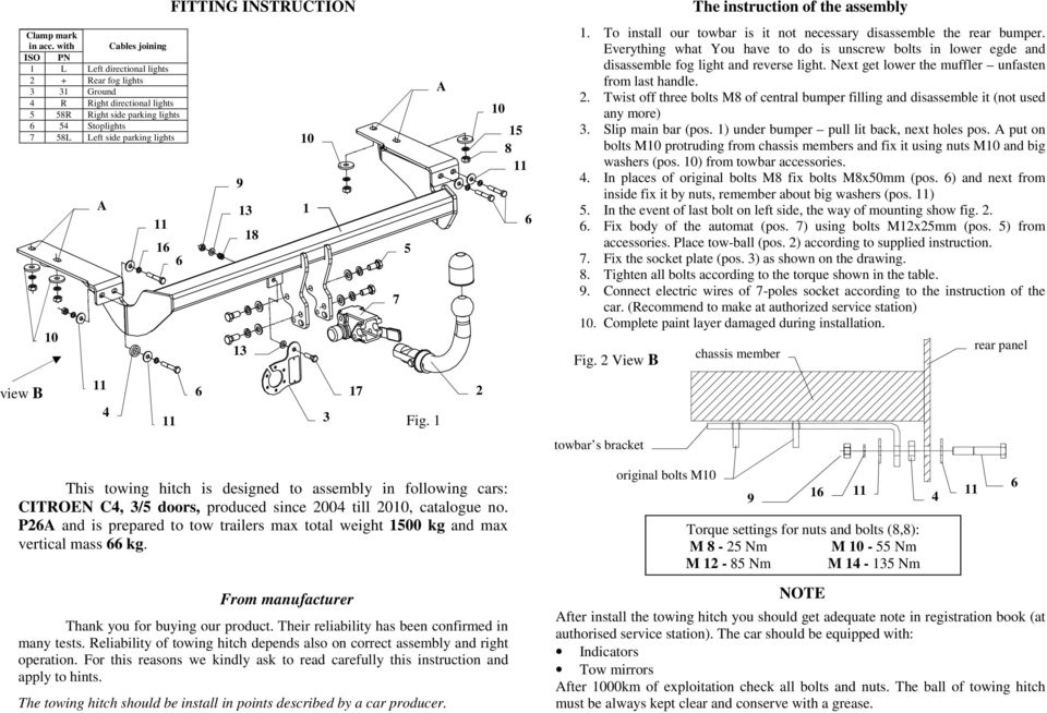 FITTING INSTRUCTION 18 1 3 17 7 5 Fig. 1 This towing hitch is designed to assembly in following cars: CITROEN C, 3/5 doors, produced since 200 till 20, catalogue no.