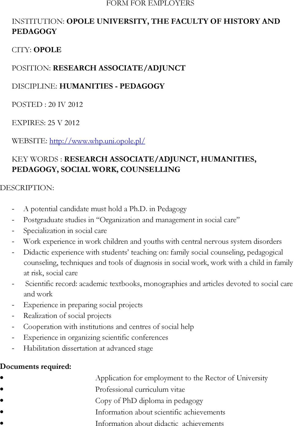 : RESEARCH ASSOCIATE/ADJ