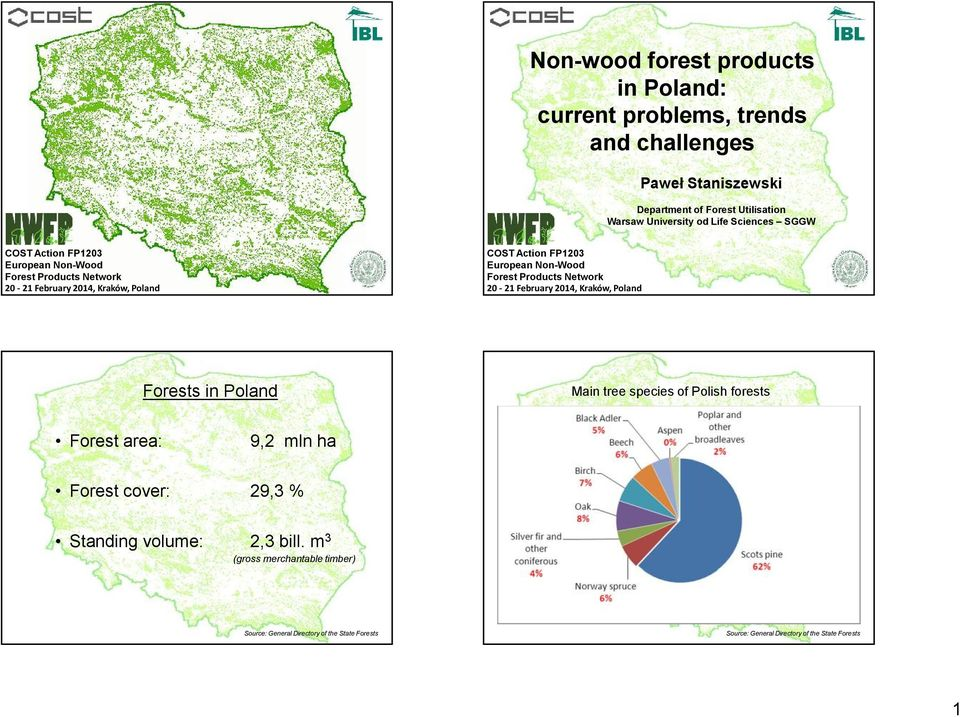 Forest Products Network 20-21 February 2014, Kraków, Poland Forests in Poland Forest area: 9,2 mln ha Forest cover: 29,3 % Standing volume: Main tree