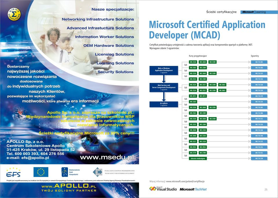 Development MS 70-306 MS 70-315 Web Services and Server Components Development MS 70-316 MS 70-229 do wyboru MS 2185 MS 70-234 MS 2310 MS 2640 MS 2565 MS 2310 MS 2640 MS 2555 MS 70-316 MS 2840 MS