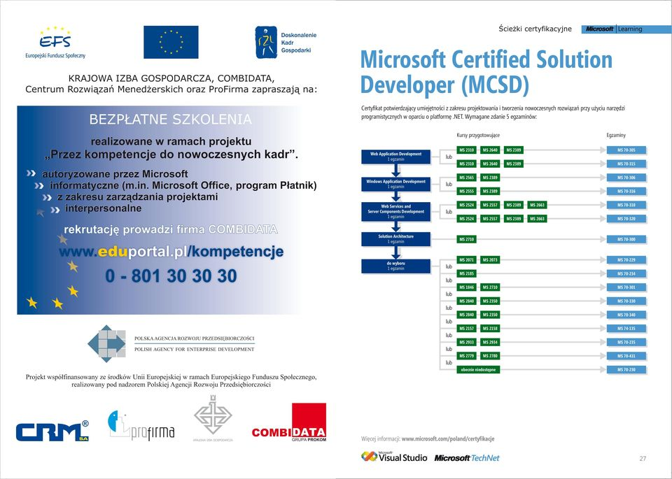 Wymagane zdanie 5 egzaminów: Web Application Development MS 2310 MS 2310 MS 2640 MS 2640 MS 70-305 MS 70-315 Windows Application Development MS 2565 MS 2555 MS 70-306 MS 70-316 Web Services and