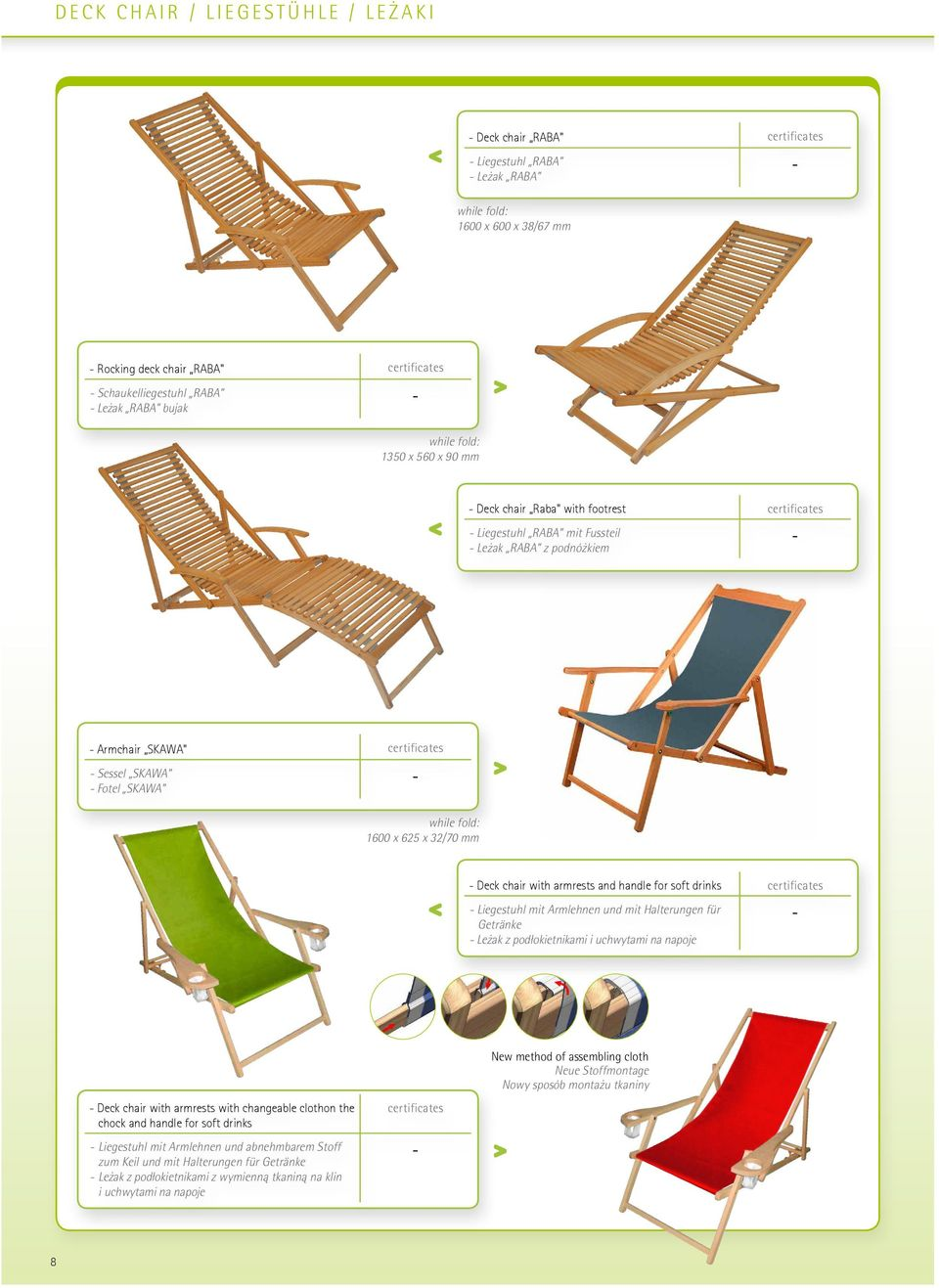 "changeable cloth (new version) Step 1 certificates Armchair SKAWA"" Instruction of assembling cloth in deck chair in deck chair with changeable cloth (new version) Sessel SKAWA Fotel SKAWA Step 2 Step"