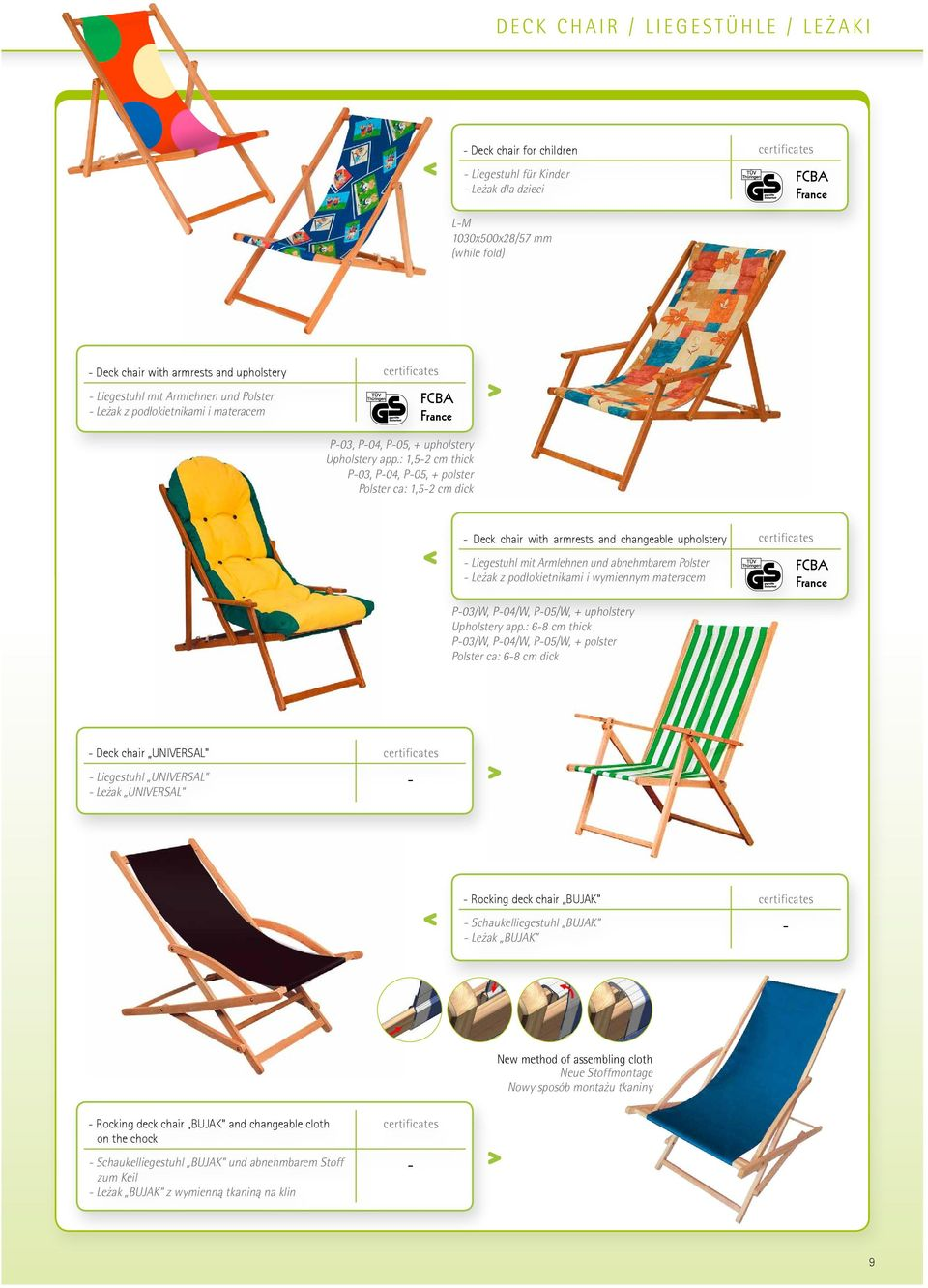 : 1,52 cm thick P03, P04, P05, + polster Polster ca: 1,52 cm dick Deck chair with armrests and changeable upholstery certificates Liegestuhl mit Armlehnen und abnehmbarem Polster Leżak z