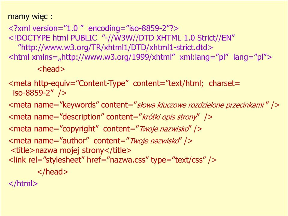 org/1999/xhtml xml:lang= pl lang= pl > <head> <meta http-equiv= Content-Type content= text/html; charset= iso-8859-2 /> <meta name= keywords content= słowa
