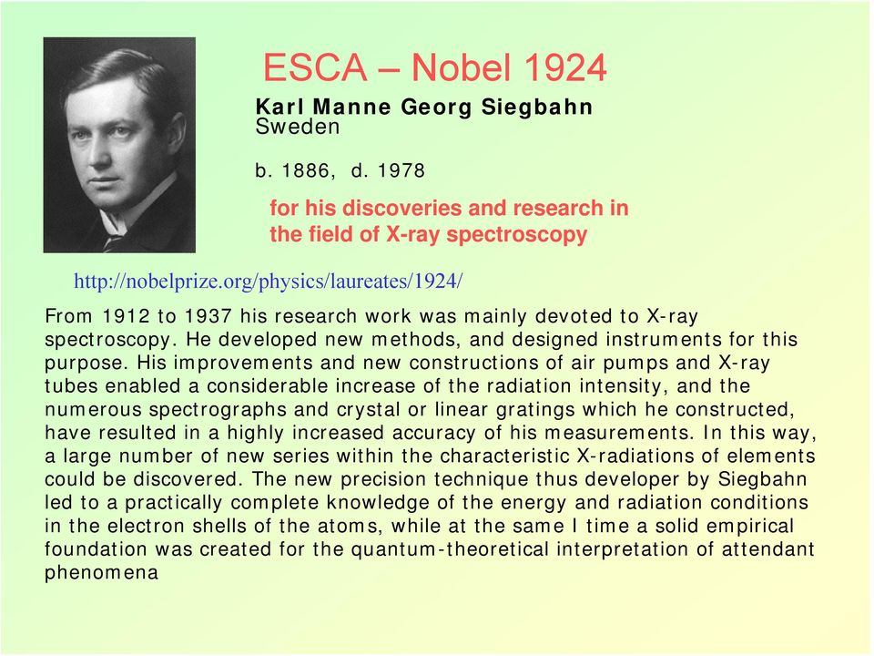 His improvements and new constructions of air pumps and X-ray tubes enabled a considerable increase of the radiation intensity, and the numerous spectrographs and crystal or linear gratings which he