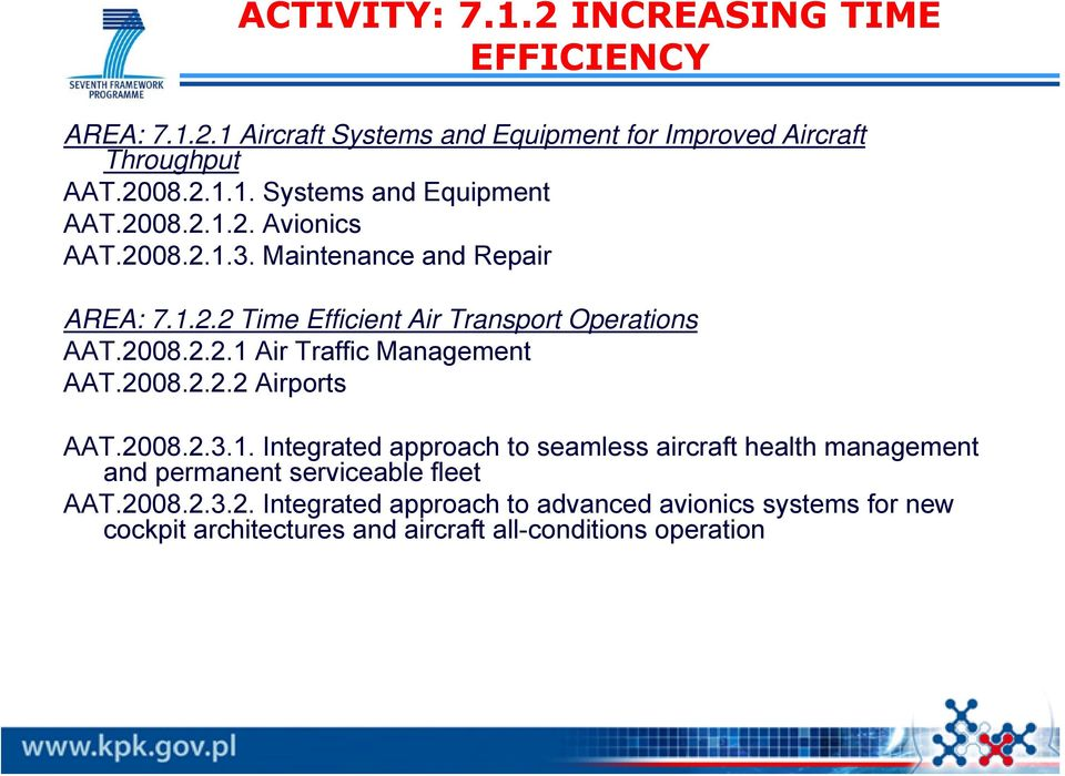 2008.2.2.2 Airports AAT.2008.2.3.1. Integrated approach to seamless aircraft health management and permanent serviceable fleet AAT.2008.2.3.2. Integrated approach to advanced avionics systems for new cockpit architectures and aircraft all-conditions operation