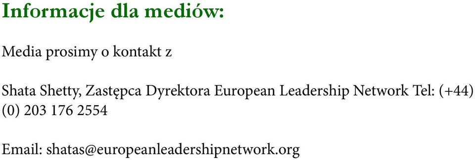 European Leadership Network Tel: (+44) (0)
