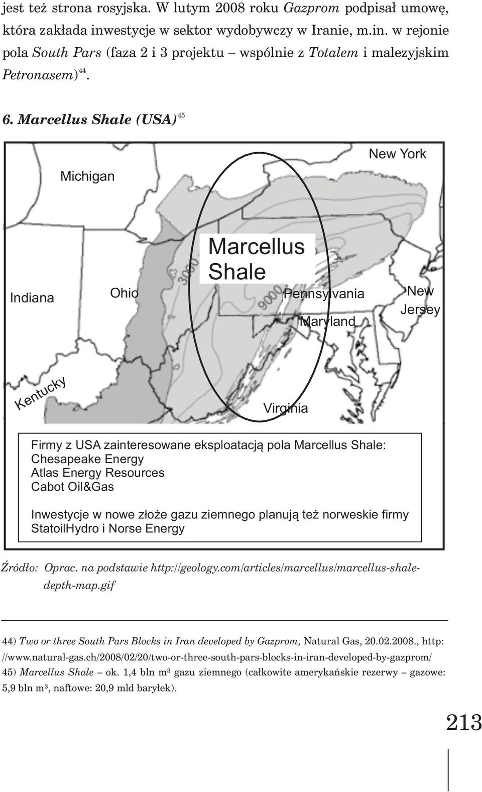 Marcellus Shale (USA) New York Michigan Indiana Ohio Marcellus Shale Pennsylvania Maryland New Jersey Kentucky Virginia Firmy z USA zainteresowane eksploatacj¹ pola Marcellus Shale: Chesapeake Energy