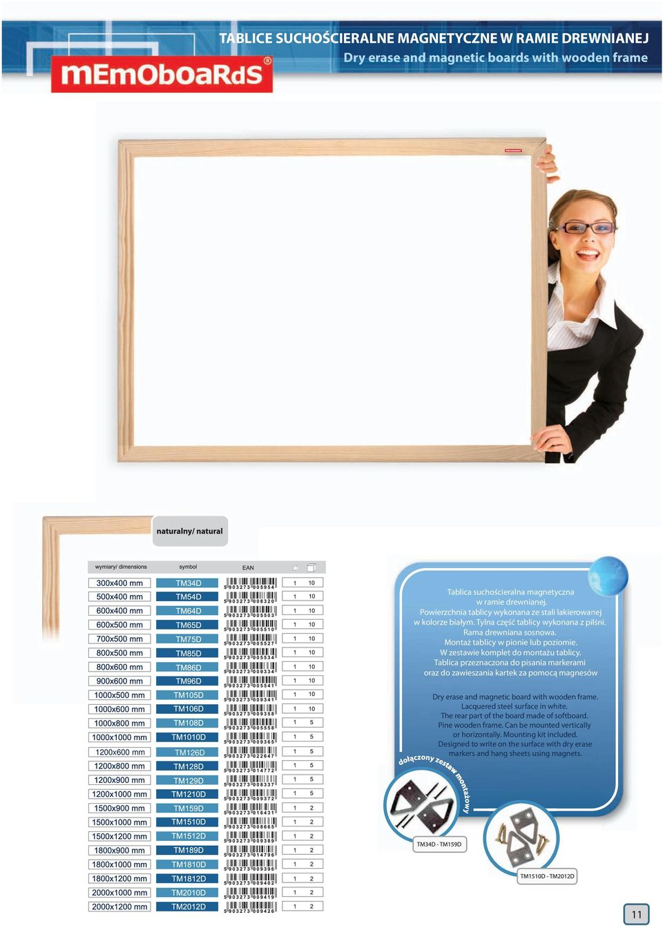W zestawie komplet do montażu tablicy. Tablica przeznaczona do pisania markerami oraz do zawieszania kartek za pomocą magnesów 1200x600 mm TM126D Dry erase and magnetic board with wooden frame.