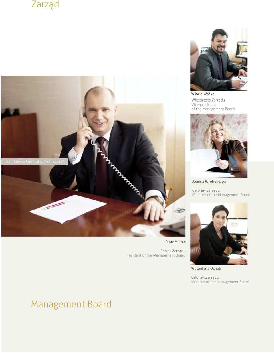 the Management Board Piotr Mikrut Prezes Zarządu President of the Management