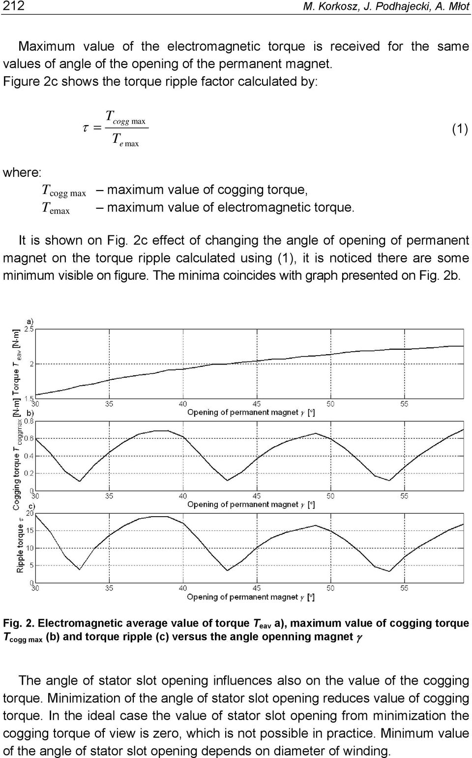 2c effect of changing the angle of opening of permanent magnet on the torque ripple calculated using (1), it is noticed there are some minimum visible on figure.