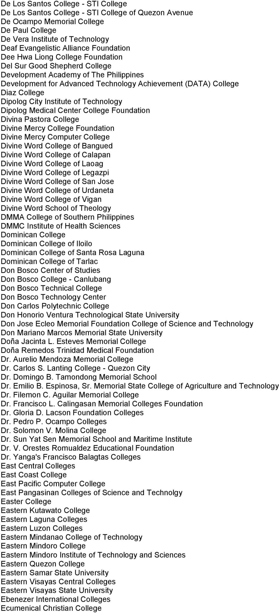 City Institute of Technology Dipolog Medical Center College Foundation Divina Pastora College Divine Mercy College Foundation Divine Mercy Computer College Divine Word College of Bangued Divine Word