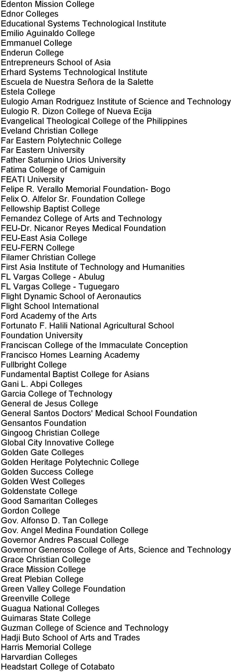 Dizon College of Nueva Ecija Evangelical Theological College of the Philippines Eveland Christian College Far Eastern Polytechnic College Far Eastern University Father Saturnino Urios University