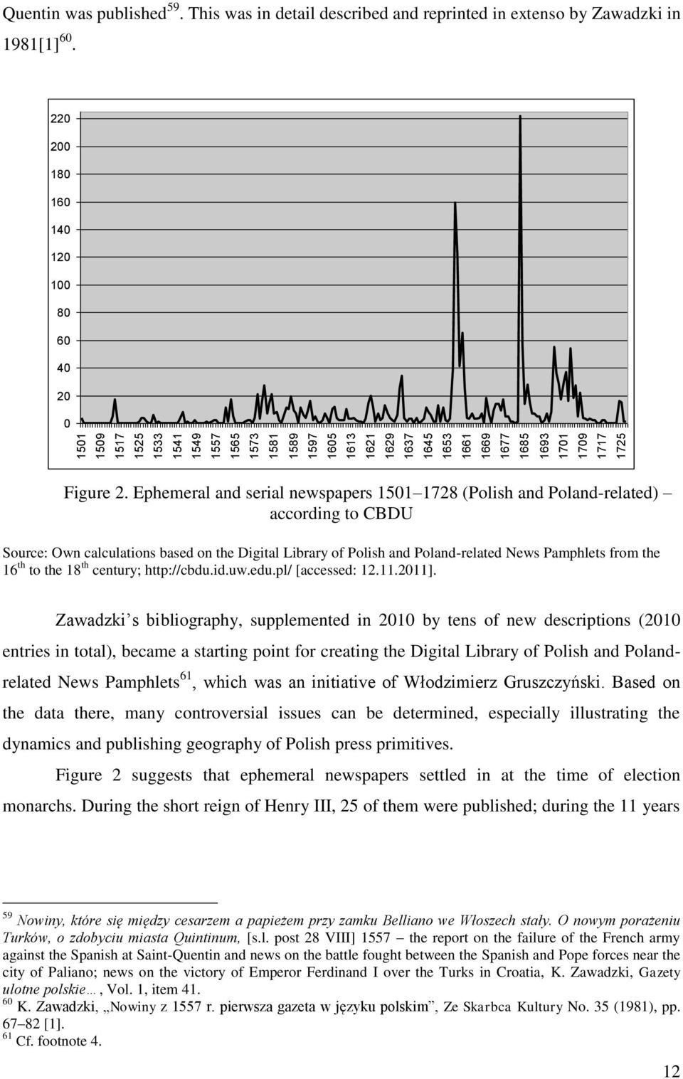 Ephemeral and serial newspapers 1501 1728 (Polish and Poland-related) according to CBDU Source: Own calculations based on the Digital Library of Polish and Poland-related News Pamphlets from the 16