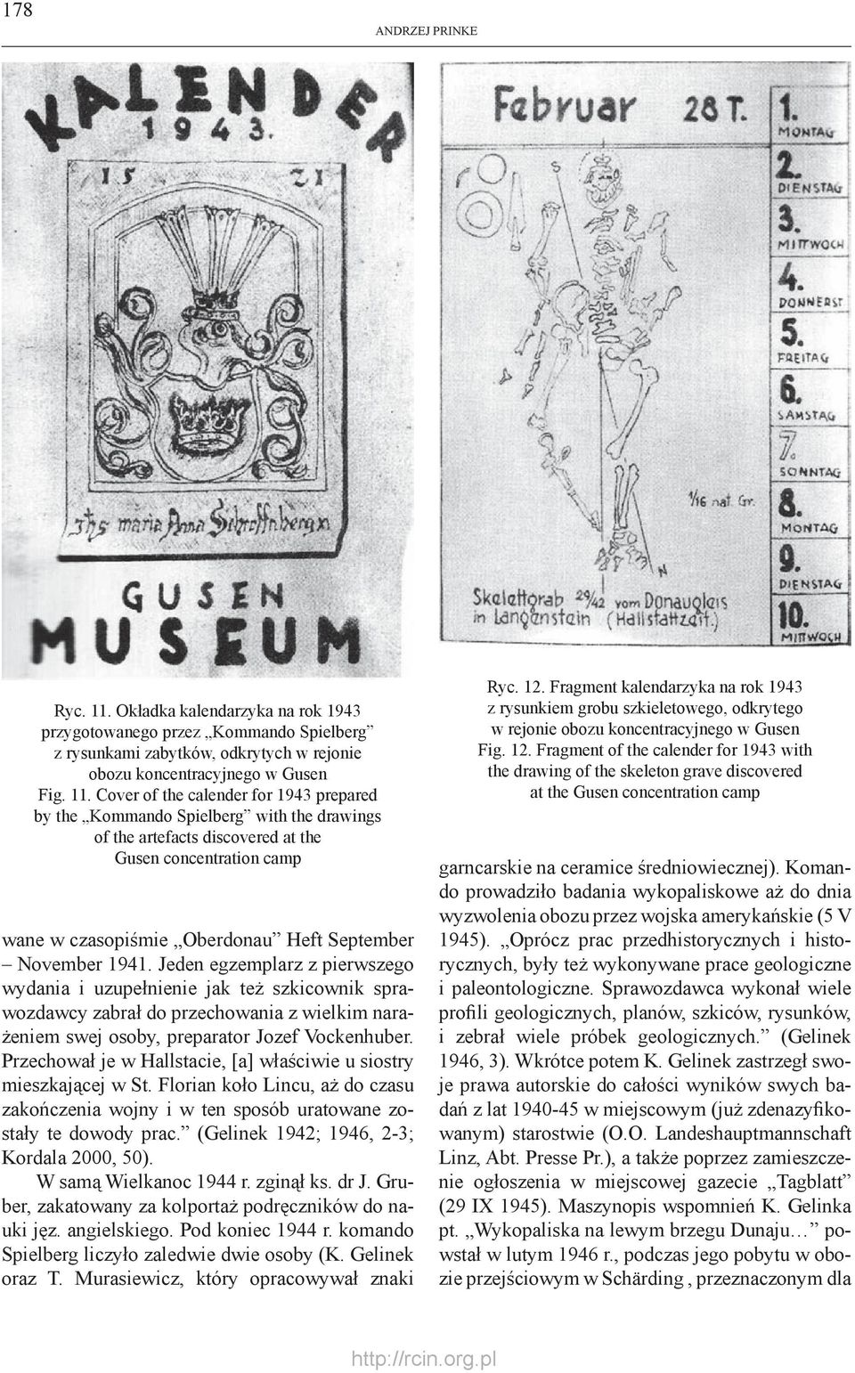 Cover of the calender for 1943 prepared by the Kommando Spielberg with the drawings of the artefacts discovered at the Gusen concentration camp wane w czasopiśmie Oberdonau Heft September November