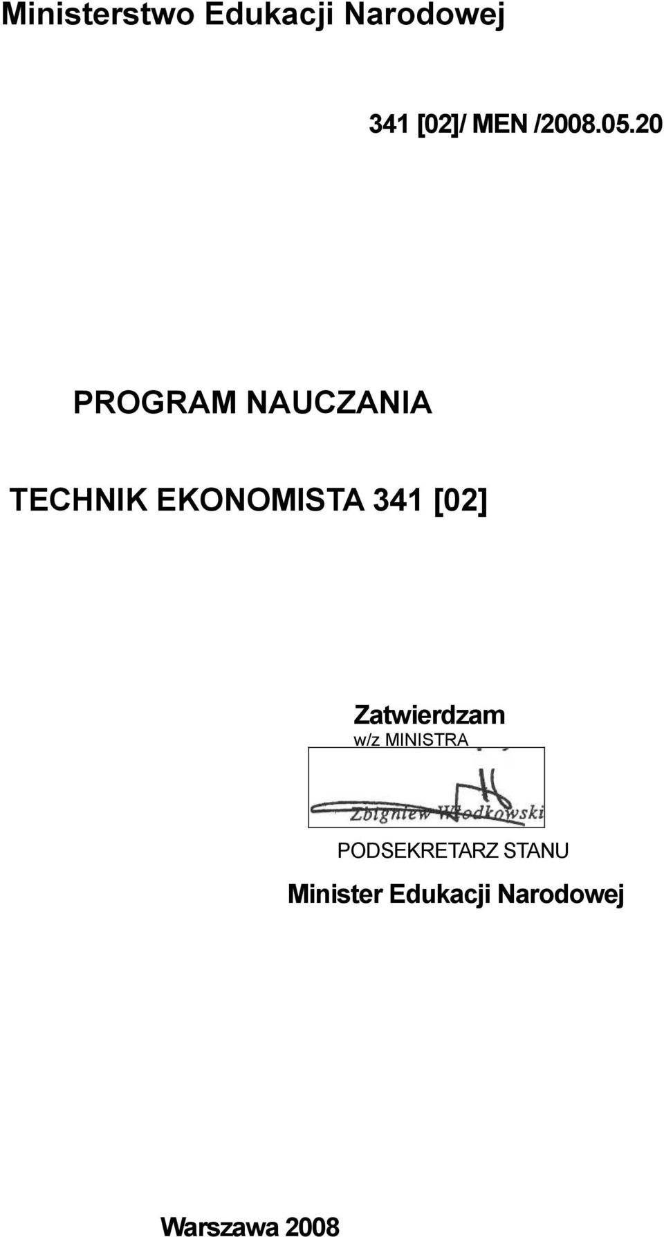 20 PROGRAM NAUCZANIA TECHNIK EKONOMISTA 341