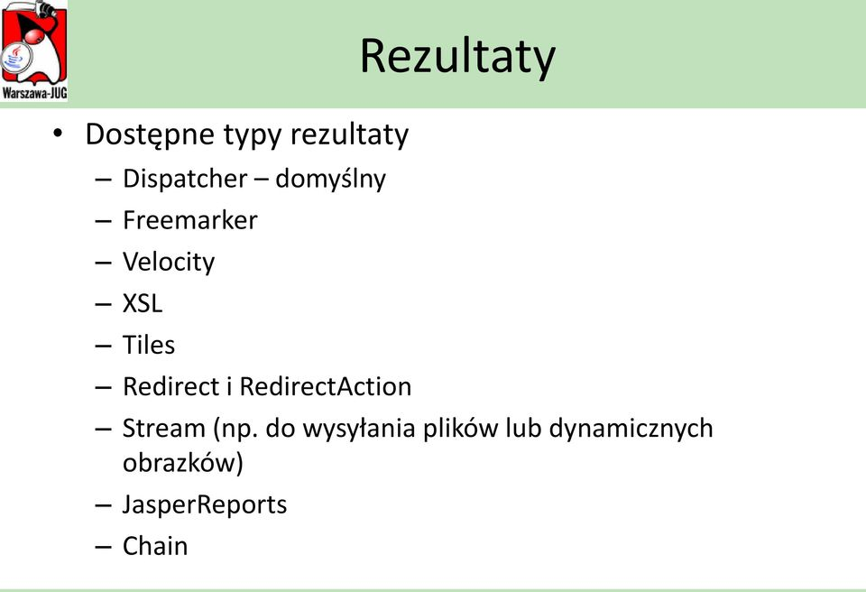 RedirectAction Rezultaty Stream (np.