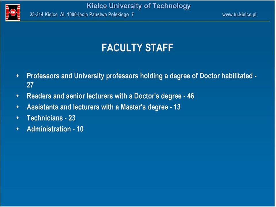 lecturers with a Doctor's degree - 46 Assistants and