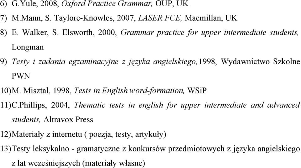 PWN 10)M. Misztal, 1998, Tests in English word-formation, WSiP 11)C.