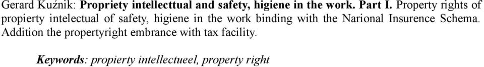 Property rights of propierty intelectual of safety, higiene in the work