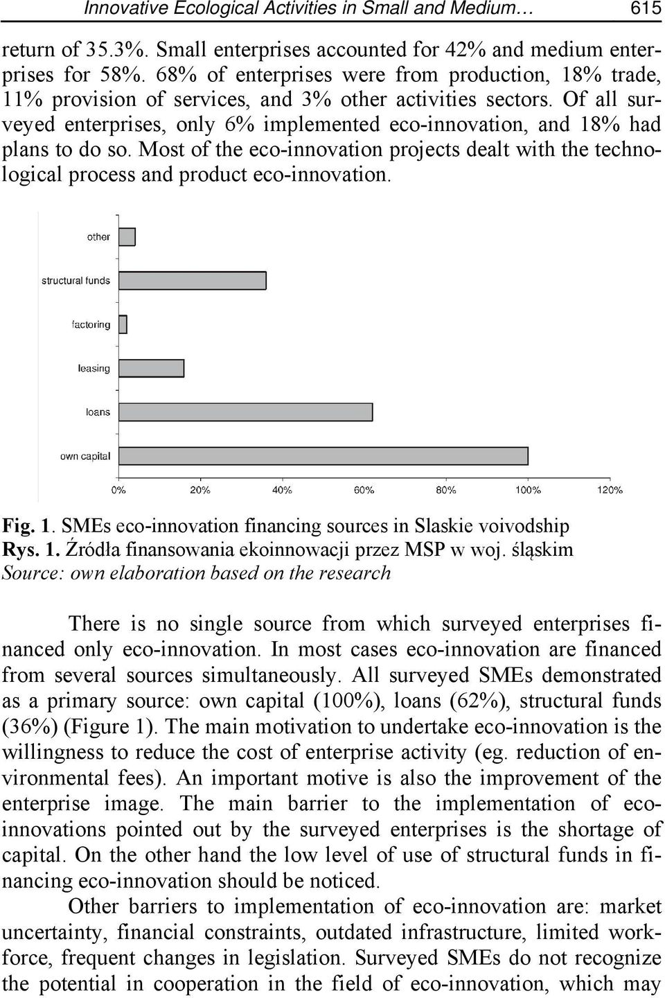 Of all surveyed enterprises, only 6% implemented eco-innovation, and 18% had plans to do so. Most of the eco-innovation projects dealt with the technological process and product eco-innovation. Fig.
