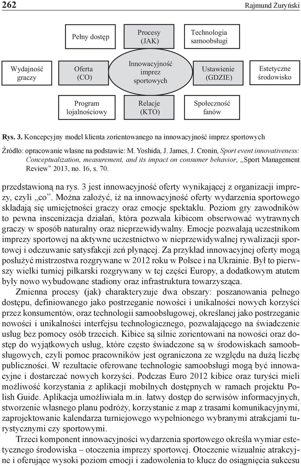 Cronin, Sport event innovativeness: Conceptualization, measurement, and its impact on consumer behavior,,,sport Management Review 2013, no. 16, s. 70. przedstawioną na rys.