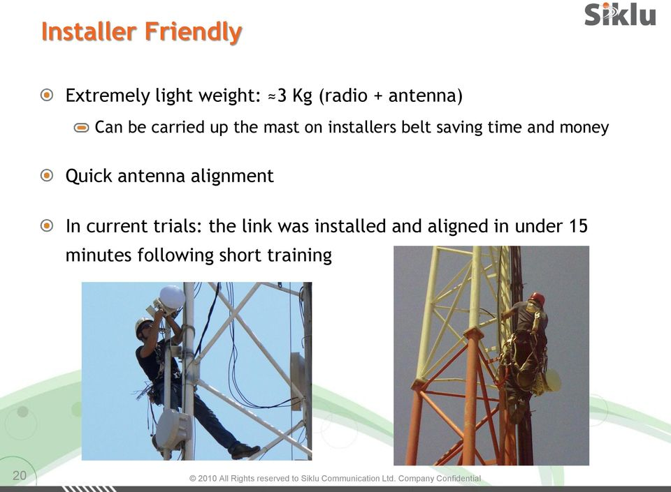 time and money Quick antenna alignment In current trials: the