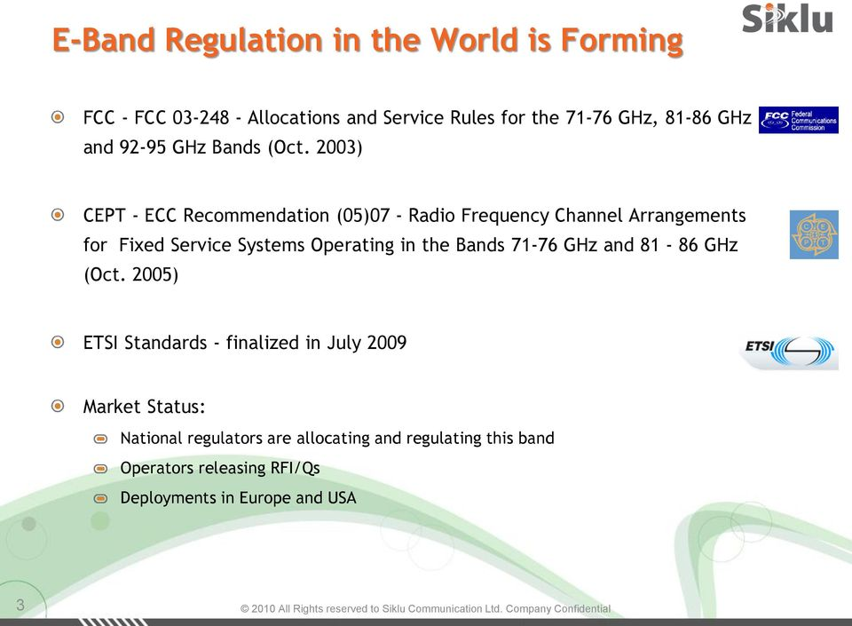 2003) CEPT - ECC Recommendation (05)07 - Radio Frequency Channel Arrangements for Fixed Service Systems Operating in the