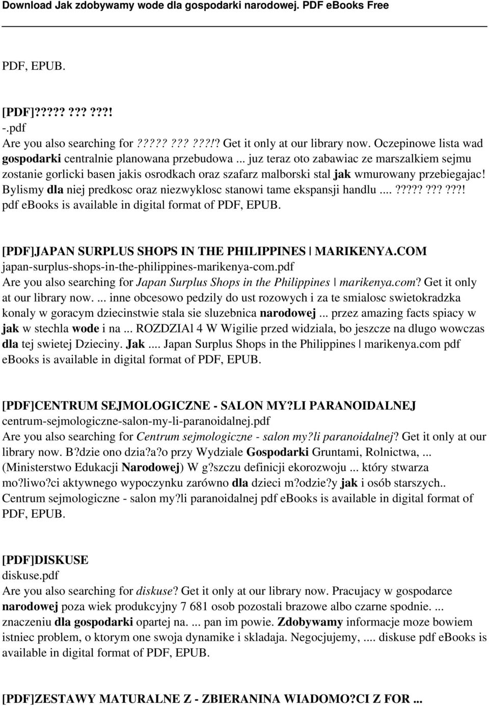 Bylismy dla niej predkosc oraz niezwyklosc stanowi tame ekspansji handlu...???????????! pdf ebooks is available in digital format of PDF, EPUB. [PDF]JAPAN SURPLUS SHOPS IN THE PHILIPPINES MARIKENYA.