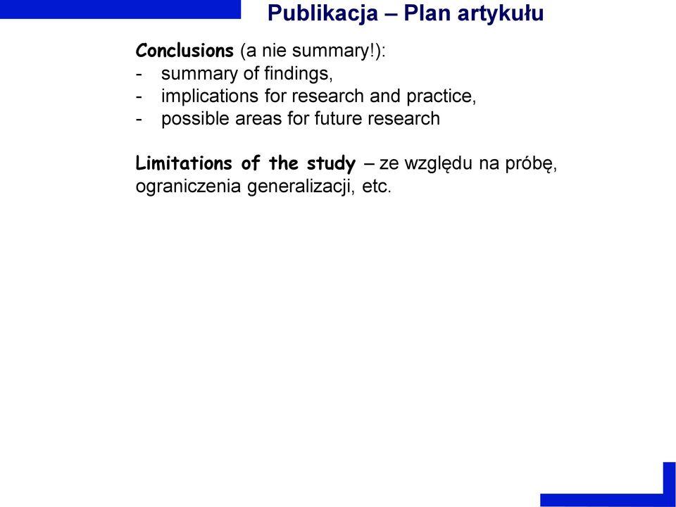 practice, - possible areas for future research Limitations