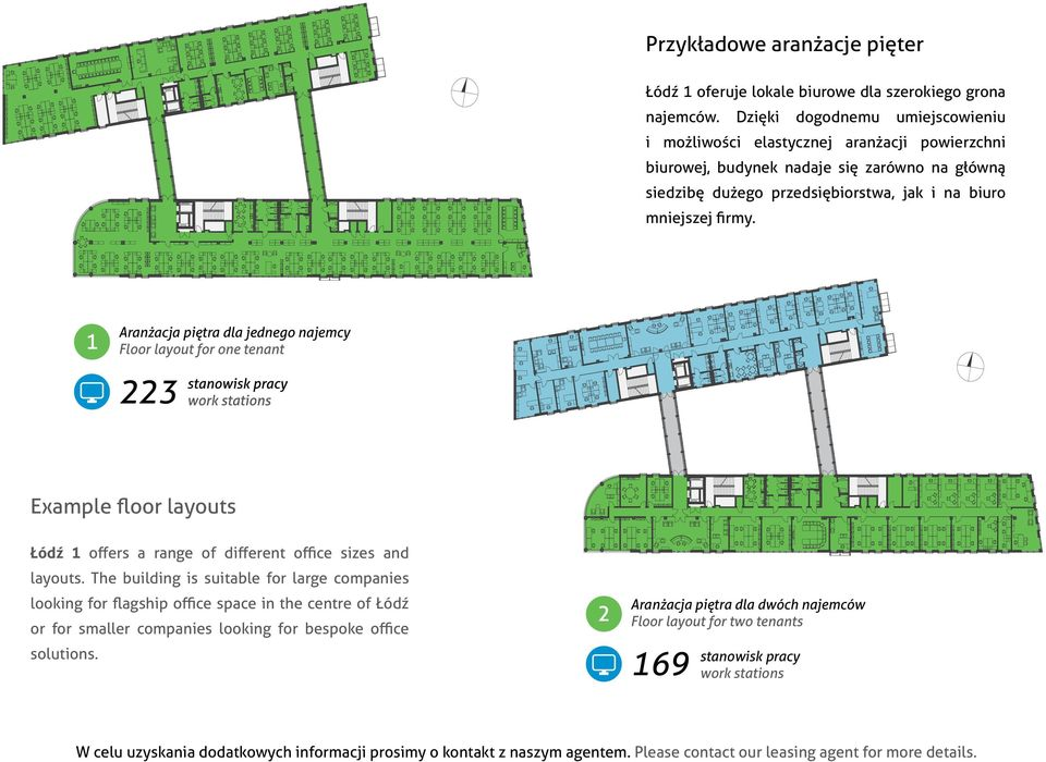 ranżacja piętra dla jednego najemcy Floor layout for one tenant 223 Example floor layouts Łódź 1 offers a range of different office sizes and layouts.