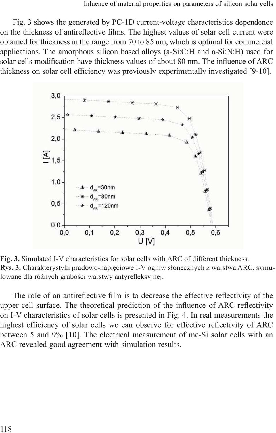 The amorphous silicon based alloys (a-si:c:h and a-si:n:h) used for solar cells modification have thickness values of about 80 nm.