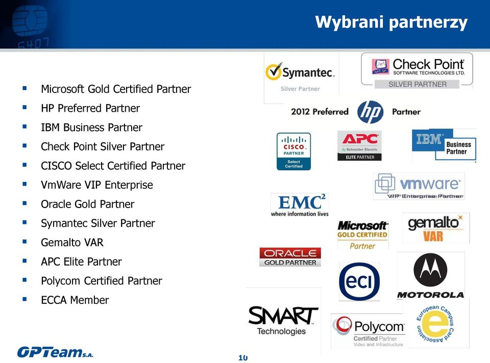 Certified Partner VmWare VIP Enterprise Oracle Gold Partner Symantec